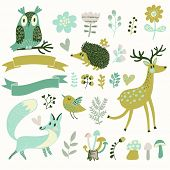 Russian forest set in vector. Deer, hedgehog, owl, bird and fox in cartoon style. Ribbons with place