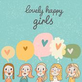 foto of shy girl  - Lovely happy girls  - JPG
