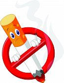 image of tobacco smoke  - Vector illustration of No smoking cartoon symbol - JPG