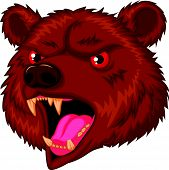 Bear head mascot cartoon character