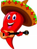 Chili pepper mariachi cartoon wearing sombrero playing a guitar