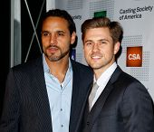 NEW YORK-NOV 18; Actors Daniel Sunjata and Aaron Tveit (r) attend the CSA 29th Annual Artios Awards