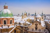 Prague In Winter, Panorama And Cityscape