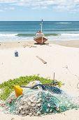 Punta Del Diablo Beach, Popular Tourist Place And Fisherman's Place In The Uruguay Coast