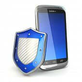 Mobile phone security concept. Cellphone and shield. 3d