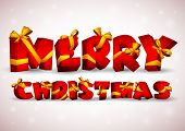 Red inscription Merry Christmas