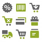 Shopping web icons set, kiwi series