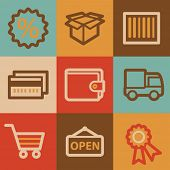 Shopping web icons, vintage series