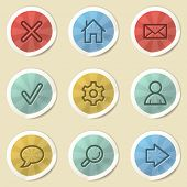 Basic web icons, color vintage stickers