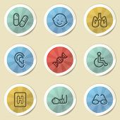 Medicine web icons, color vintage stickers