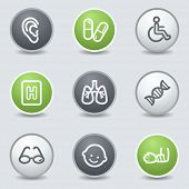 Medicine web icons set 2, circle buttons