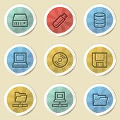 Drive storage web icons, color vintage stickers