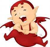 Illustration of a Little Devil Clutching His Stomach in Laughter