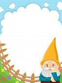 Background Illustration of a Garden Gnome Set Against Clear Blue Skies