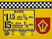New York City taxi rates decal. This rate was in effect from May 1987 till December 1989