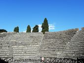 Odeon in the ancient Roman city of Pompeii .