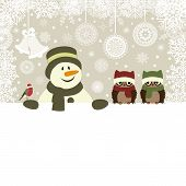 stock photo of snowman  - Christmas card with snowman and birds vector illustration - JPG
