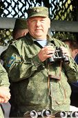 KOSTROMA REGION - AUG 26: Vladimir Shamanov (Commander-in-Chief Russian Airborne Troops) during Comm