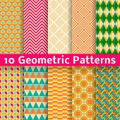 Geometric patterns (tiling). Set of vector seamless background.