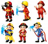 stock photo of firehose  - Illustration of the firemen on a white background - JPG
