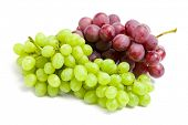 Close up of two bunches of grape, isolated. Concept of healthy eating and dieting lifestyle