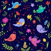 Cute spring musical birds seamless pattern blue