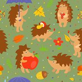 Seamless pattern with simple cute hedgehogs