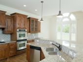Model Luxury Home Interior Kitchen With Arch Window