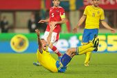 VIENNA,  AUSTRIA - JUNE  7 Andreas Granqvist (#4 Sweden) complains about a foul during the world cup
