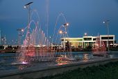 Night View Of The The Fountain Complex In Park. Ashkhabad. Turkmenistan.