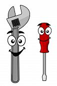 Cute cartoon spanner and screw driver