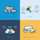 Four flat web design and business vector concepts