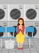 Illustration of a Girl Using Her Phone While Waiting for Her Laundry to be Washed
