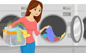 picture of laundromat  - Illustration of a Girl Placing Laundry in a Washing Machine at a Laundromat - JPG