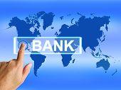 Bank Map Indicates International And Internet Banking