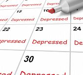 Depressed Calendar Means Down Despondent Or Mental Illness