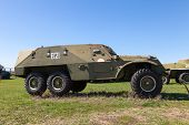 Togliatti, Russia - May 2, 2013: An Old Soviet Btr-152 Wheeled Armored Personnel Carrier Located In