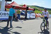 Female Bike Rider At Finish Line