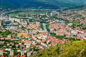 The View From High On The City Of Mostar In Bosnia And Herzegovina.