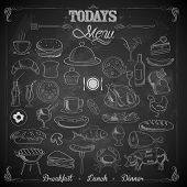 illustration of different food item in menu chalk board