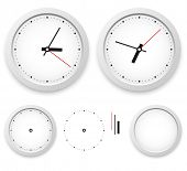 White wall clock vector template isolated on white background.