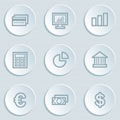 Finance web icon set 1, white sticker buttons