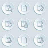 Document web icon set 2, white sticker buttons