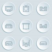 Audio video web icons, white sticker buttons