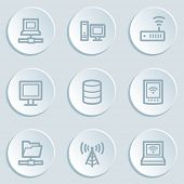 Network web icons, white sticker buttons