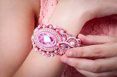 Female Pink Bracelet Technique Soutache On Hand