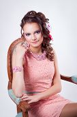 Attractive Girl With Ornaments In The Art Soutache In A Pink Dress