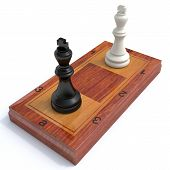 foto of chessboard  - chess kings are opposite each other on the original chessboard - JPG