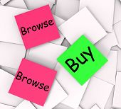 Browse Buy Post-it Notes Show Shopping Around And Purchasing