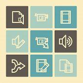 Audio video edit web icons, buttons set